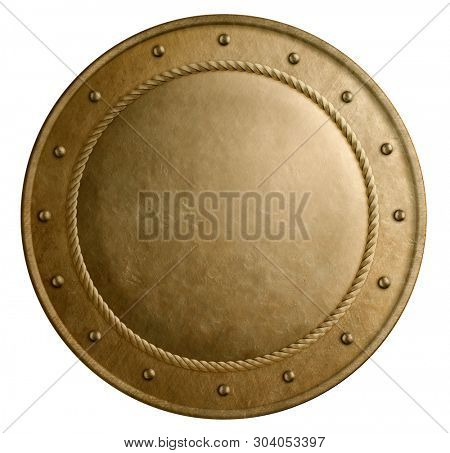 Large bronze metal round shield isolated 3d illustration