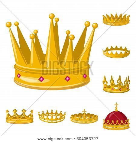 Isolated object of monarchy and gold icon. Set of monarchy and heraldic stock symbol for web. poster