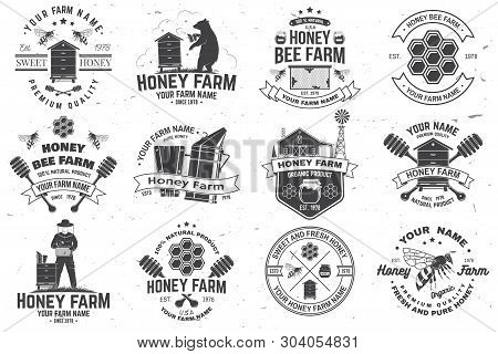 Set Of Honey Bee Farm Badge. Vector. Concept For Shirt, Print, Stamp Or Tee. Vintage Typography Desi