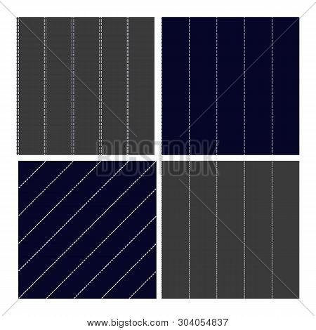 Pinstripe Collection Seamless Pattern Set Vector. Classic Different Grey, Navy Blue And White Dashed