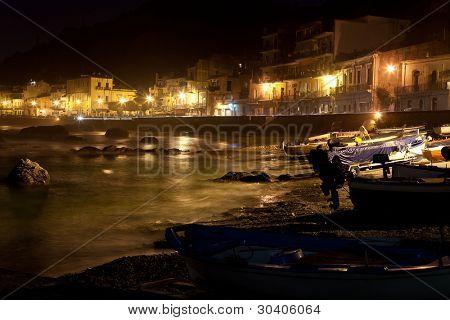Sicily - Giardini Naxos town view at night