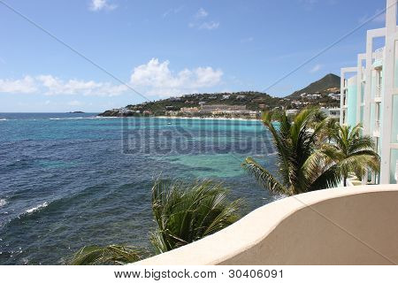 Beautiful shot of ocean and resort area as seen from Lighthouse 3C bordering Dawn Beach in Saint Marten poster