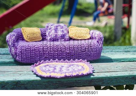 Crocheted Violet Sofa For Dolls With Yellow And Melange Pillows And A Rug. Handmade Toy Furniture