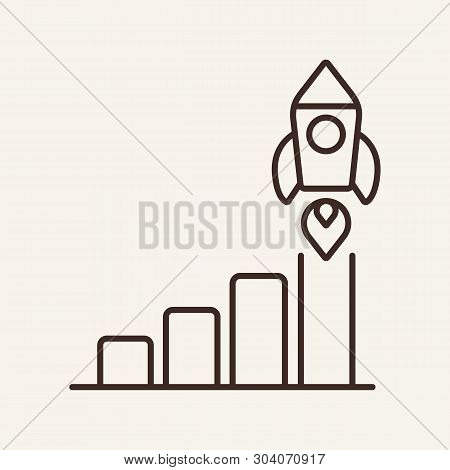 Rocket In Diagram Line Icon. Bar Chart, Growth, Spaceship Launch. Startup Concept. Vector Illustrati