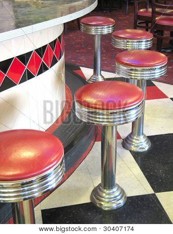 Counter and barstools of vintage roadside diner
