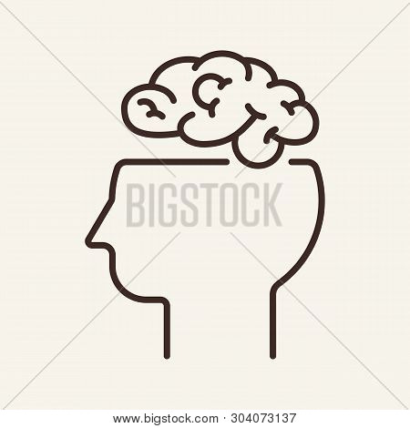 Thinking Line Icon. Human Head With Open Brain. Brainwork Concept. Vector Illustration Can Be Used F