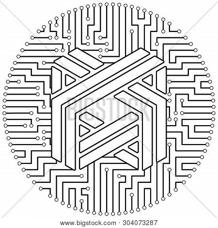 Luxcoin - Cryptocurrency Coin. Vector Thin Line Design Single Isolated Icon. Lineart Illustration On