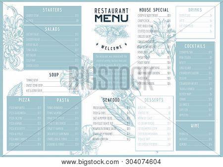 Vintage Menu Design With Japanese Chrysanthemum, Blackberry Lily, Eucalyptus Flower, Anemone, Iris J