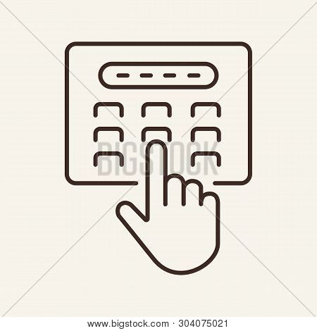 Hand Entering Passcode Line Icon. Atm, Button, Hand, Privacy. Business Security Concept. Vector Illu