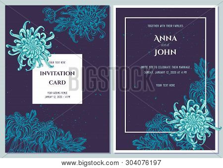 Wedding Invitation Card With Blue Japanese Chrysanthemum
