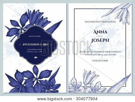 Wedding Invitation Card With Blue And White Blackberry Lily