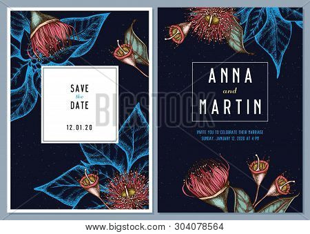 Dark Wedding Invitation Card With Colored Eucalyptus Flower