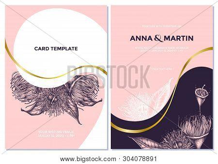 Wedding Invitation Card With Pink Eucalyptus Flower