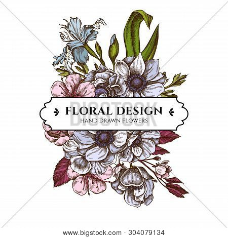 Floral Bouquet Design With Colored Anemone, Iris Japonica, Sakura
