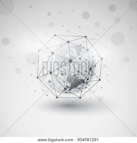 Modern Style Cloud Computing And Networks Design Concept With Polygonal Sphere And Earth Globe - Big