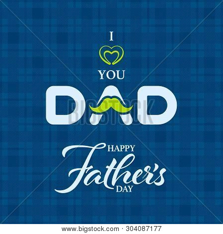 Greeting Message For Fathers Day On Patterned Background. Happy Fathers Day Greeting Card.