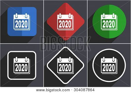 New year 2020 set of flat design web icons in 6 options