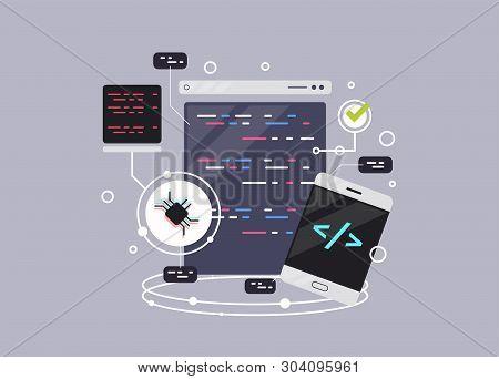 Programming Banner, Coding, Best Programming Languages, Flat Illustration Concept