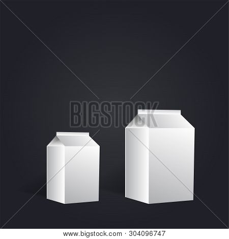 Group Of White Blank Milk Boxes On Black Font. Retail Package Mockup Set. Half Liter Containers Isol