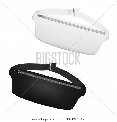 Black And White Waist Bag, Fanny Pack 80s-90s Style