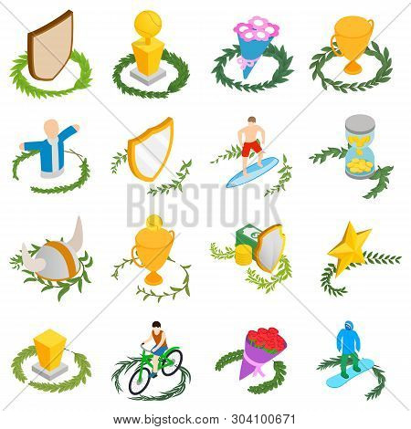 Victory Icons Set. Isometric Set Of 16 Victory Vector Icons For Web Isolated On White Background