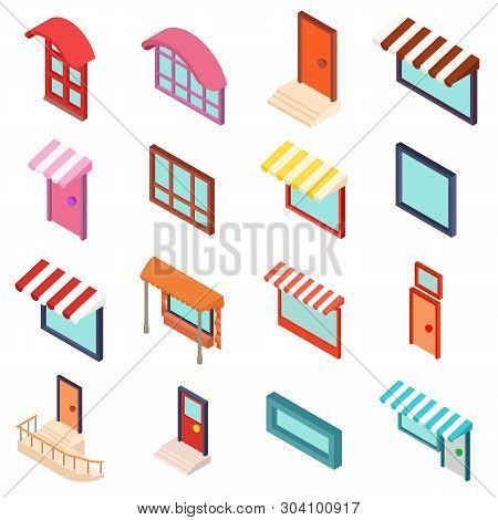 Facade Icons Set. Isometric Set Of 16 Facade Vector Icons For Web Isolated On White Background
