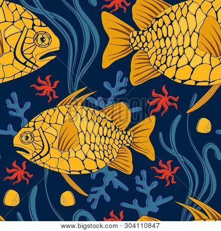 Fish Pattern. Pinecone Fish Colorful Seamless Pattern