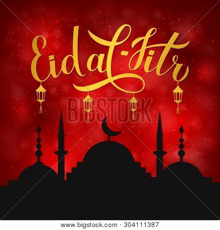 Eid Al-fitr Calligraphy Lettering And Silhouette Of Mosque On Red Background. Muslim Holiday Banner.