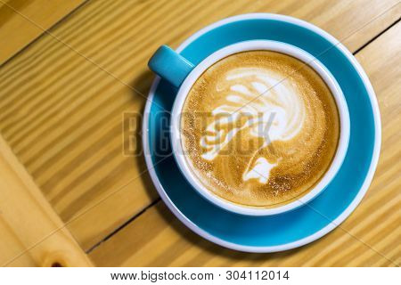 Hot Mocha - A Cup Of Coffee With Beautiful Latte Art On Wooden Table Background, Morning Breakfast