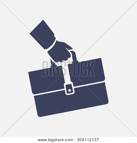 Black Icon Briefcase In Hand. Business Cartoon Sign. Concept Management. Vector Illustration Flat De