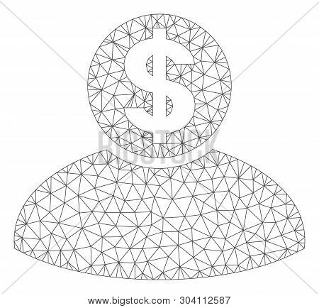Mesh banker model icon. Wire frame polygonal mesh of vector banker isolated on a white background. Abstract 2d mesh designed with polygonal grid and small circle. poster