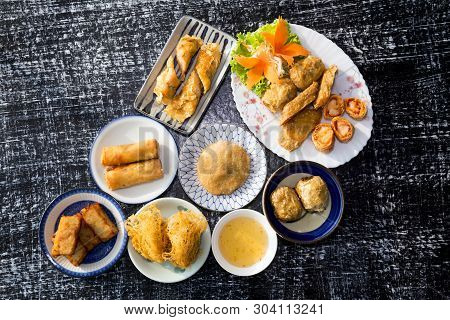 Spring Rolls With Shrimps And Vegetables,chinese Food.