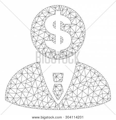 Mesh banker model icon. Wire frame triangular mesh of vector banker isolated on a white background. Abstract 2d mesh built from triangular lines and spheric points. poster