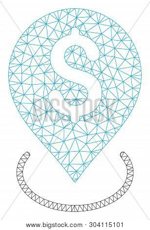 Mesh bank placement model icon. Wire carcass polygonal mesh of vector bank placement isolated on a white background. Abstract 2d mesh built from polygonal grid and points. poster