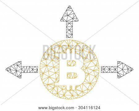 Mesh Bitcoin Variant Directions Model Icon. Wire Frame Triangular Mesh Of Vector Bitcoin Variant Dir