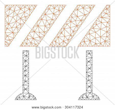 Mesh Barrier Model Icon. Wire Frame Polygonal Mesh Of Vector Barrier Isolated On A White Background.