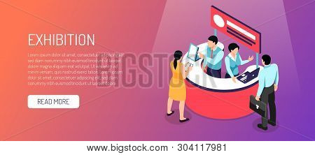 Isometric Expo Horizontal Banner With Read More Button Text And Image Of Information Booth With Peop