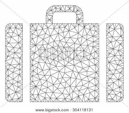 Mesh Baggage Model Icon. Wire Frame Triangular Mesh Of Vector Baggage Isolated On A White Background