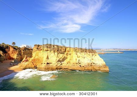 Rocky southcoast near Lagos in Portugal