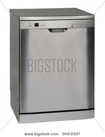Modern freestanding dishwasher isolated on white