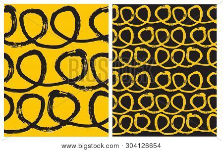 Set Of 2 Hand Drawn Irregular Geometric Vector Patterns. Black Horizontal Lines With Loops On A Yell