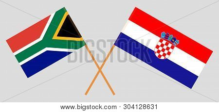 Croatia and RSA. The Croatian and South African flags. Official colors. Correct proportion. Vector illustration poster