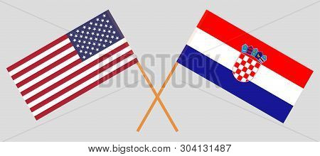 Croatia and USA. The Croatian and United States of America flags. Official colors. Correct proportion. Vector illustration poster