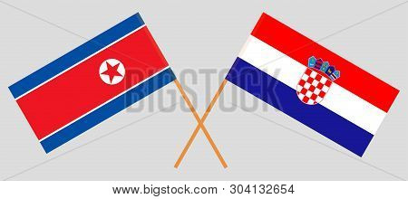 Croatia and North Korea. The Croatian and Korean flags. Official colors. Correct proportion. Vector illustration poster