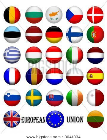 Flags Of The European Union Icons 3D