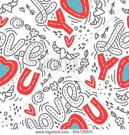 Seamless Vector Background With Hearts, Arrows, Ringlets, Flowers, Love.  Illustration For Fabric, S
