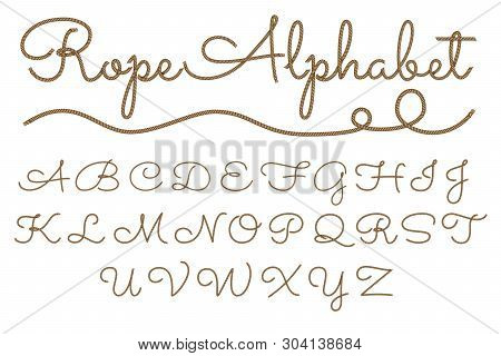 Rope Hand Drawn Font, 3d Realistic Effect, Capital Uppercase Letters. Vector Illustration Eps 10
