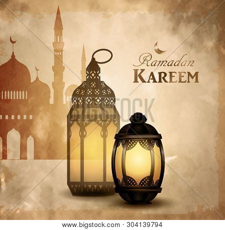 Gold Vintage Luminous Lantern. Arabic Shining Lamps Hanging With Mosque Vector On Grange Background