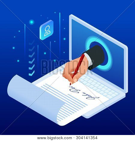 Isometric Electronic Signature Concept. Electronic Document, Digital Form Attached To Electronically