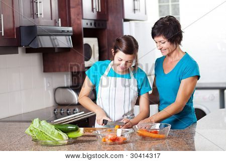 mother teaching teenage daughter cooking in kitchen